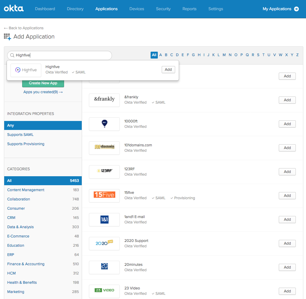 Configuring Single Sign On with Okta – Highfive Success Center